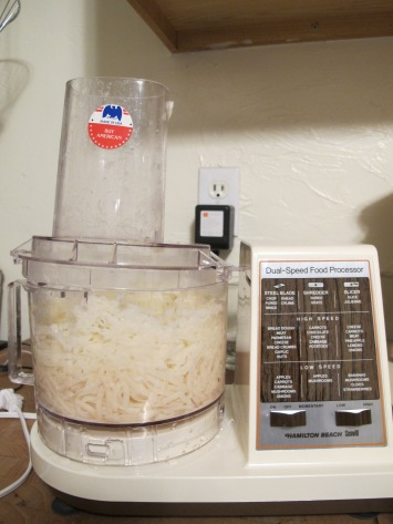 "My almond-colored, TWO-speed, ""made in America (buy American!)"" food processor, circa 1987 and courtesy of the local Republican yard sale."