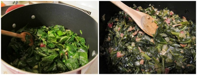 Greens before and after cooking